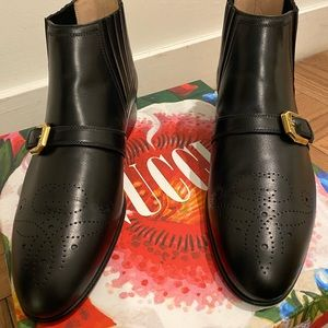 GUCCI 'Worsh' Black Stud Leather Boots Size 39